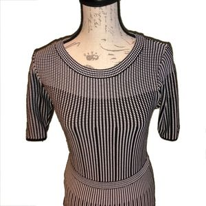Tahari black and white stripped dress, size small
